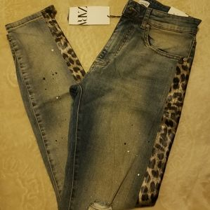 ZARA Womens Skinny Ripped Jeans Sz 30 NWT